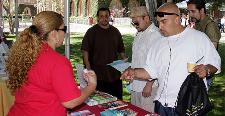 Man asks for information at health fair