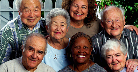 Group of older adults from diverse racial/ethnic backgrounds