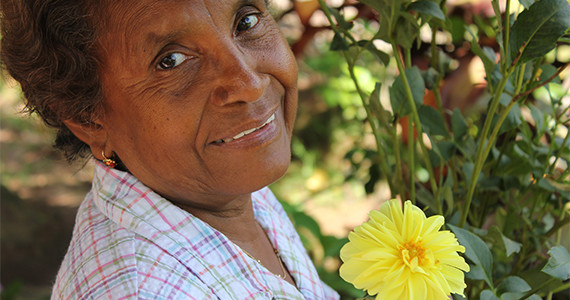 Older Woman and Flower