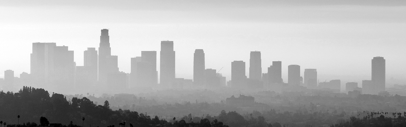 Downtown Los Angeles smog and fog black and white.