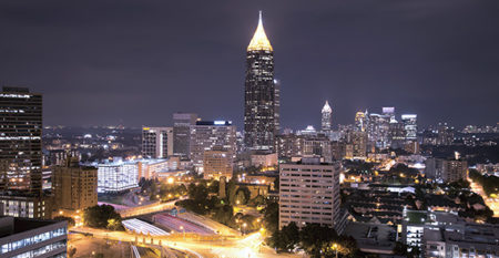 Atlanta, Georgia downtown at night