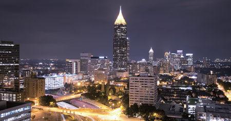 Atlanta, Georgia downtown at night