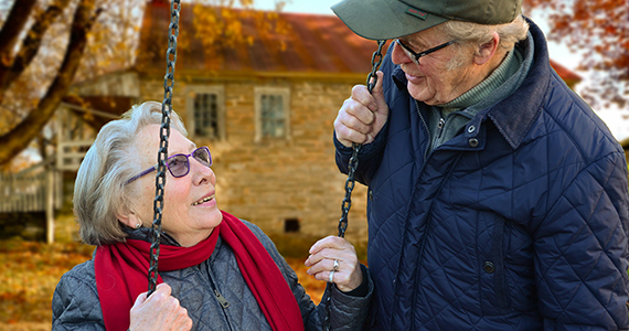 Older couple outside