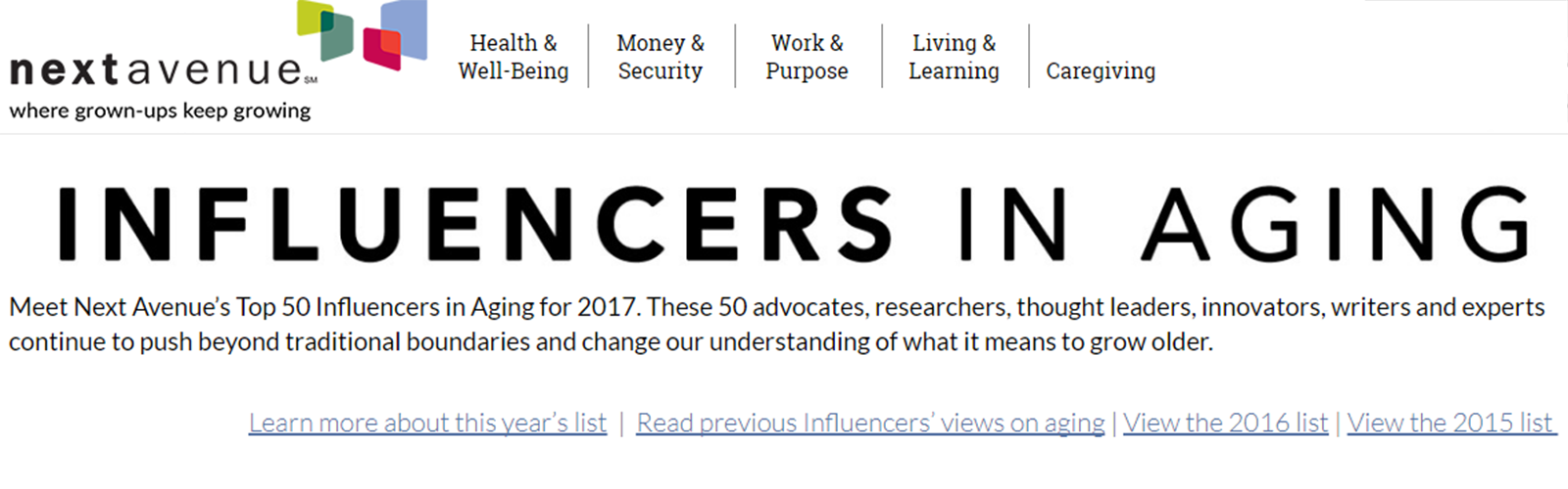 Next Avenue's Influencer in Aging webpage