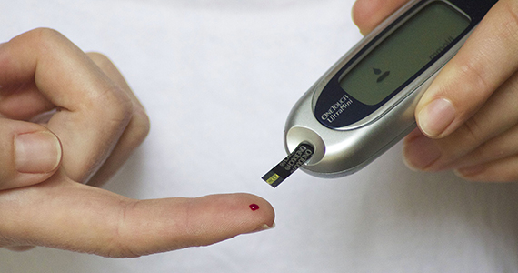 Diabetes finger check blood
