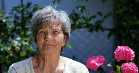 grandmother outdoors in a garden area